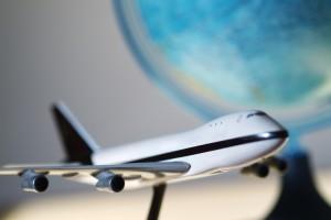 Model airplane with globe