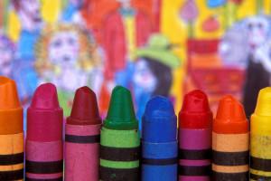 Close-up of eight crayons